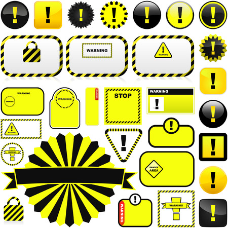 Warning vector label. Great collection. Stock Vector - 6085231