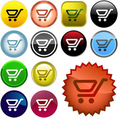 Shopping button. Vector collection. Stock Vector - 6085094