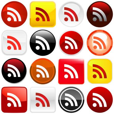syndication: Brillantes botones de RSS. Ilustraci�n vectorial.