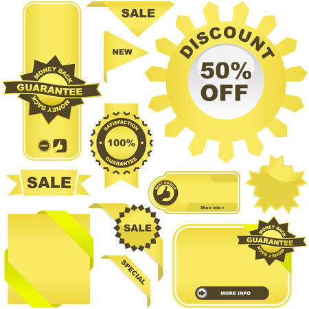 Set of gold elements for sale. Stock Vector - 6085131