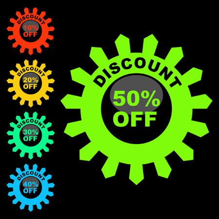 procent: Discount label templates with different percentages