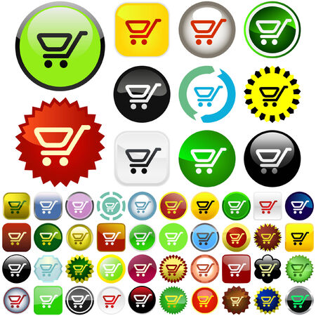 Shopping button. Great collection.   Vector