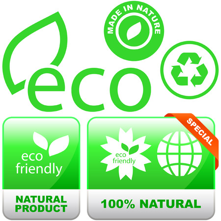 Set of natural labels. Stock Vector - 6095286
