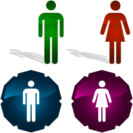 Men and women icons. Graphic elements set. Stock Vector - 6095279