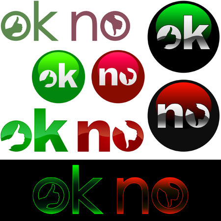 Ok and No icon. Vector beautiful icon set. Stock Vector - 6097865