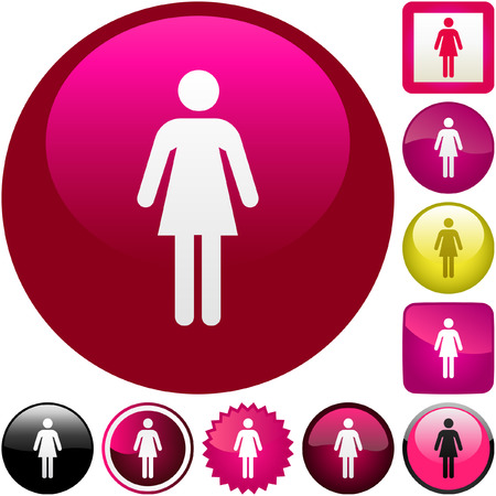symbol vector: Female symbol. Vector button set.