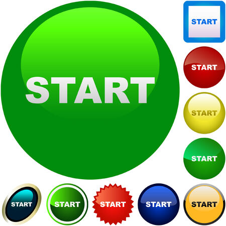 proceed: Start button. Vector set for web.