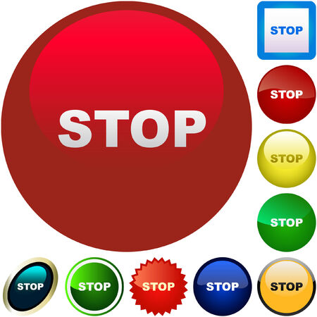 Stop button. Vector set for web.    Vector