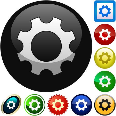 Gear vector button. Vector set.   Vector