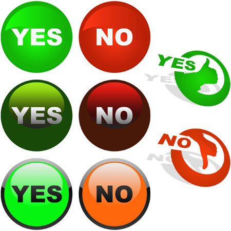Yes and No icon. Vector beautiful icon set. Stock Vector - 6097901