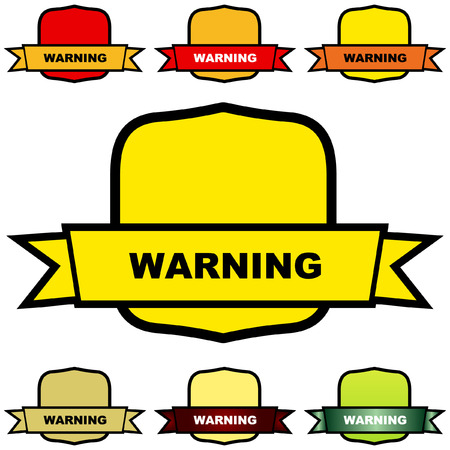 Warning vector label. Vector template.    Vector