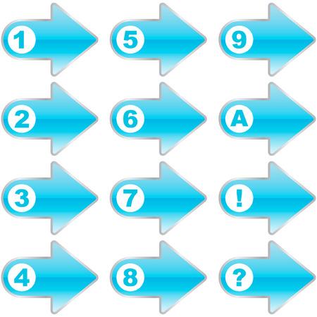 3 point perspective: Arrow set vector.