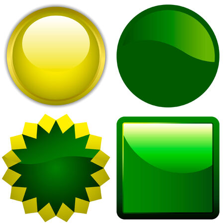 Vector green and yellow button set.  Stock Vector - 6095459