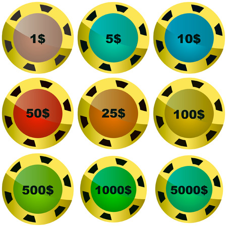 Gambling chips vector set  Stock Vector - 6097925