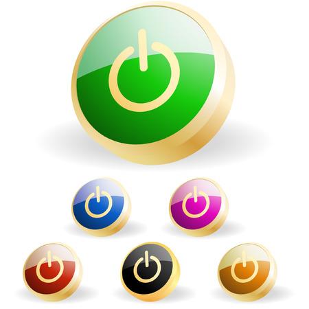 Vector power buttons for web   Vector