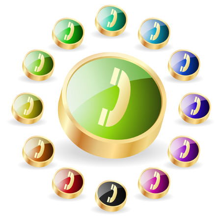 gprs: Phone buttons . Vector set.