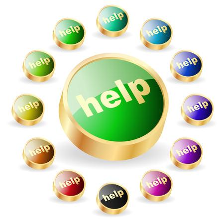 Help button. Vector set for web   Stock Vector - 6331818