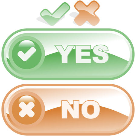 Yes and No icon. Vector beautiful icon set.    Stock Vector - 6331503