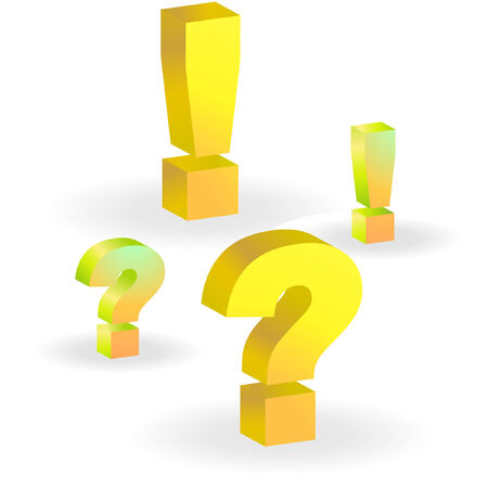 questioner: Exclamation and question vector elements.