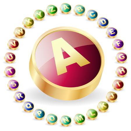 Colored alphabet. Vector button set.   Vector