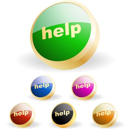 help button: Help button. Vector set for web