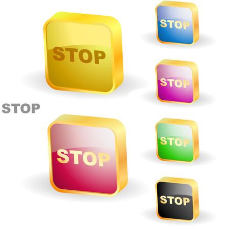 boton stop: Bot�n de parada. Vector definido para web.  Vectores