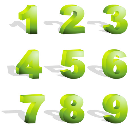 rekensommen: Nummer pictogrammen. Vector set.