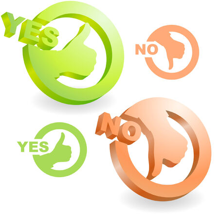 assent: Yes and No icon. Vector beautiful icon set.
