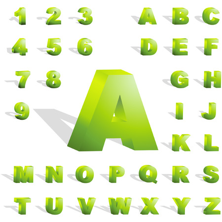 alphabetical letters: Verde alfabeto 3d. Conjunto de vectores.