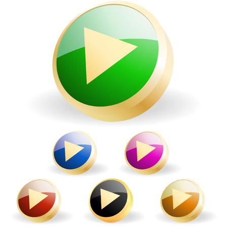 Vector play button set Stock Vector - 6331661
