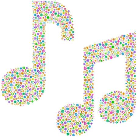 transcribe: Vector music notes. Floral set.    Illustration