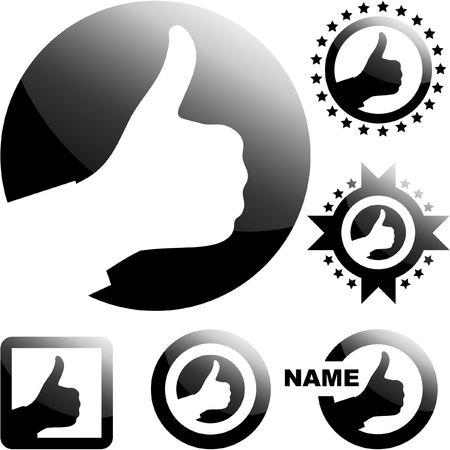 thumbs up symbol: Thumbs up. Set of design elements.