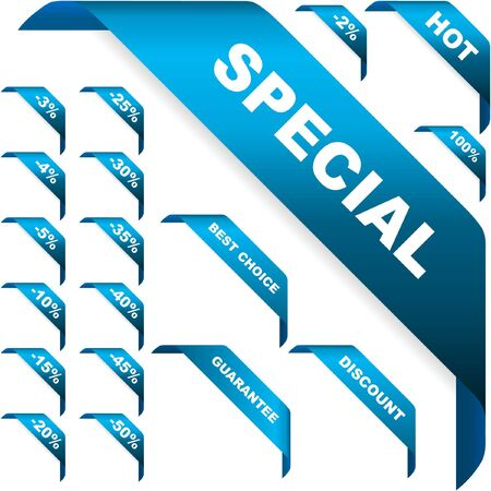 promoting: Set of vector corner ribbons for sale