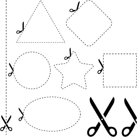 cross cut: Vector scissors with cut lines templates to choose from