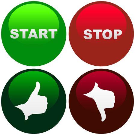 START- en STOP knop. Vector instellen voor web.    Vector Illustratie