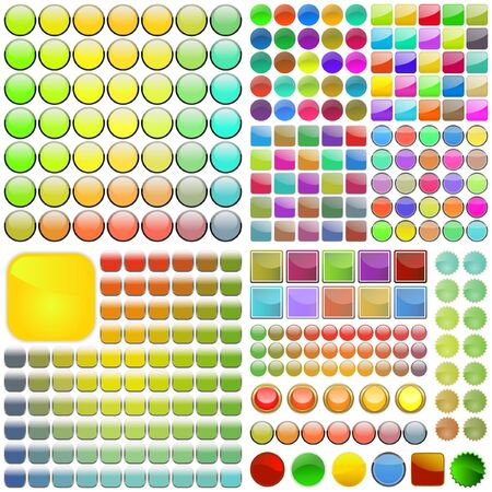 Varicoloured button set. Vector great collection. Vector