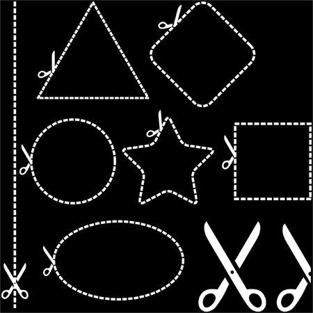 Vector scissors with cut lines   Stock Vector - 6549322