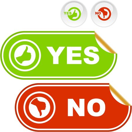 Yes and No sticker. Vector beautiful icon set. Stock Vector - 6549273