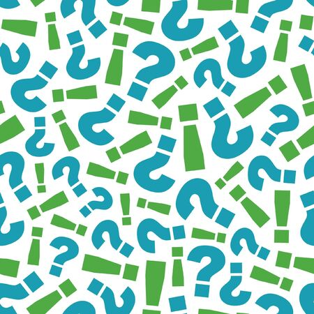 Seamless pattern with question and exclamation signs.   Vector