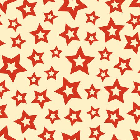 Seamless pattern with red stars. Vector