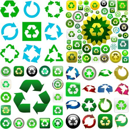 상징: Recycle symbol button. great collection. 일러스트