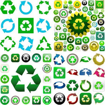 reciclar: Recycle symbol button. great collection. Ilustração