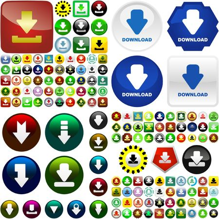 Download buttons.  great collection. Vector