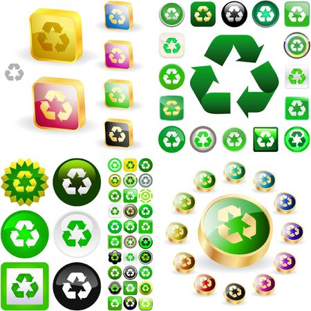 Recycle symbol button. Vector