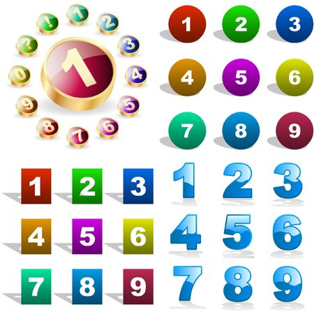 Number buttons. great collection.   Vector