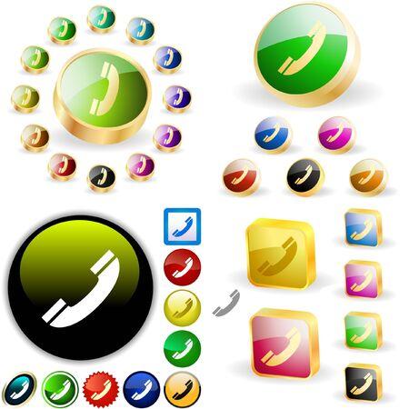 mobil: Telefoon knoppen voor het web.  Stock Illustratie