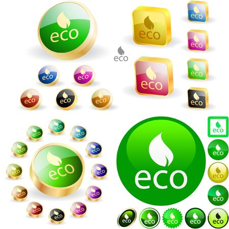 ecology emblem: Set of eco buttons.