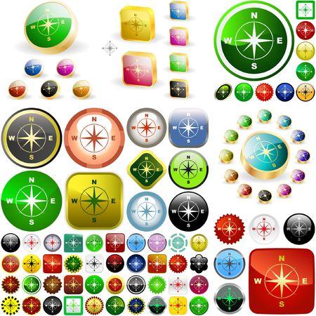 Compass buttons.  Vector