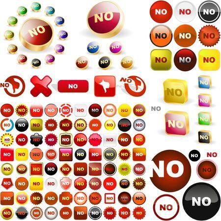 NO button.  Stock Vector - 6578085