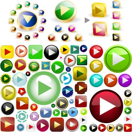 Play buttons.  Vector